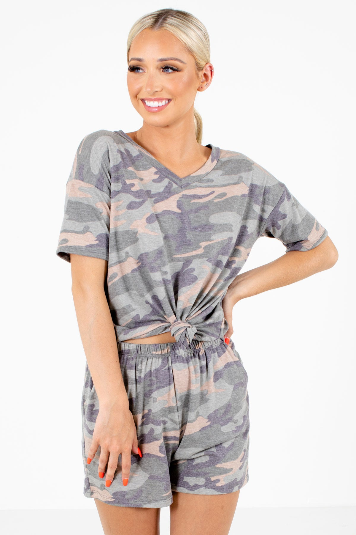 Green Camo Print Boutique Two-Piece Sets for Women