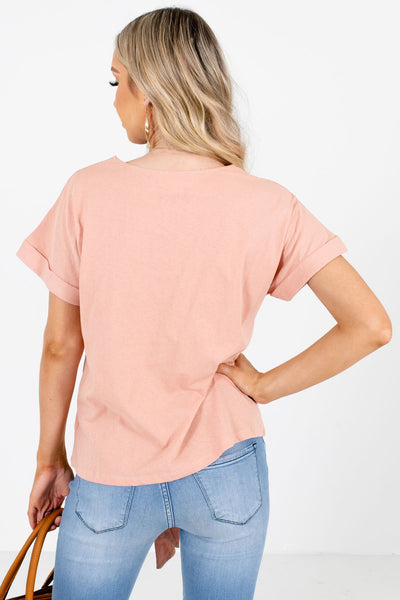 Women's Pink Cuffed Sleeve Boutique Tops
