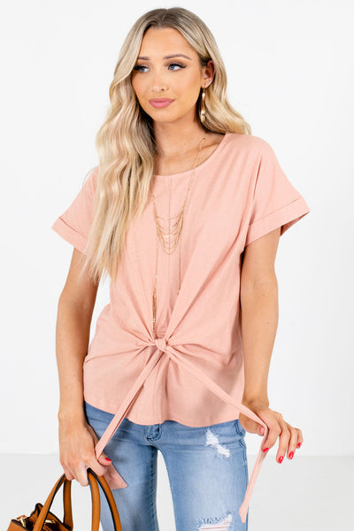 Pink Tie Front Detail Boutique Tops for Women