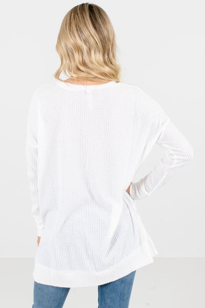 Women's White Split Hem Boutique Tops