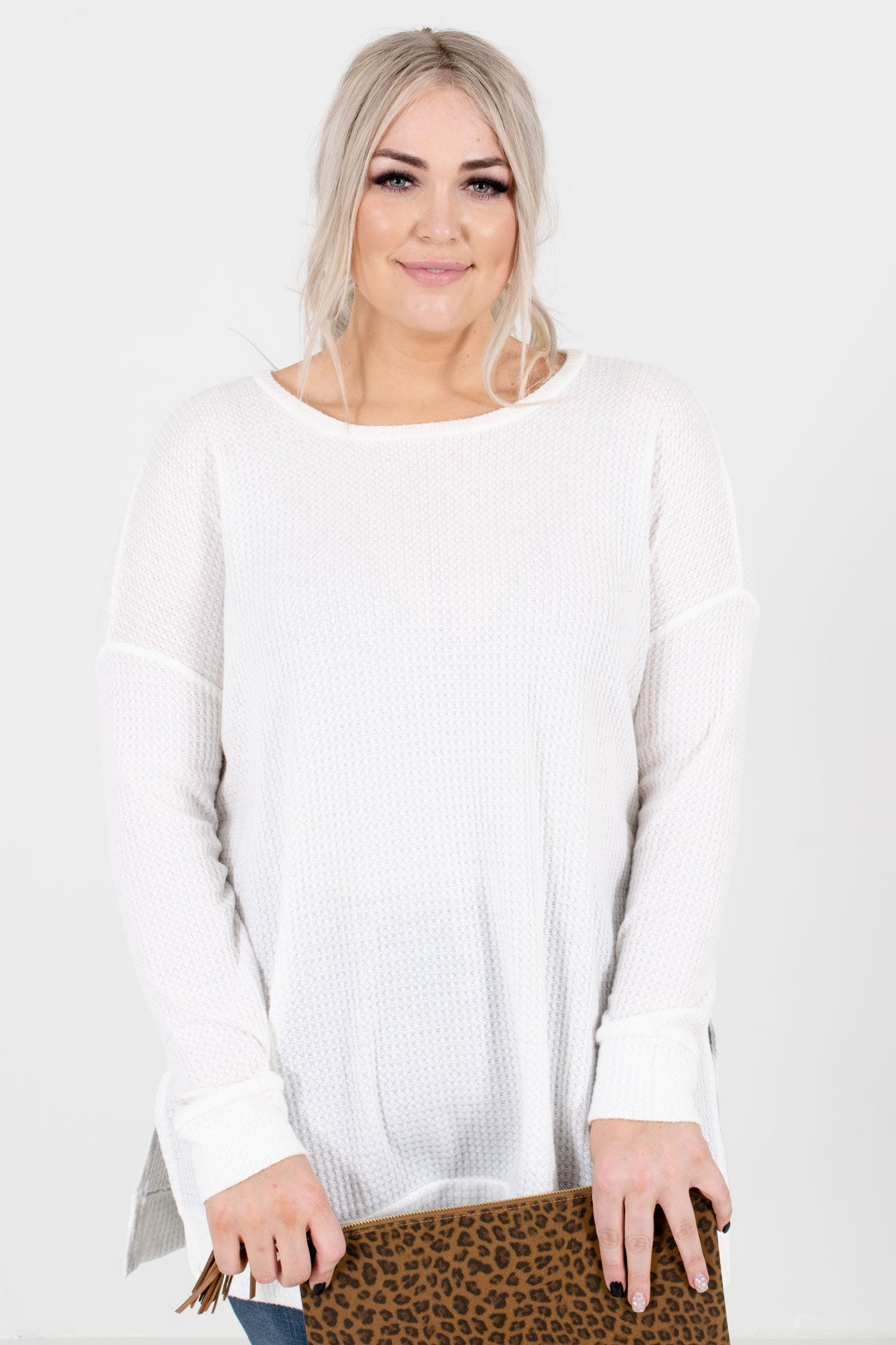 White High-Quality Waffle Knit Material Boutique Tops for Women