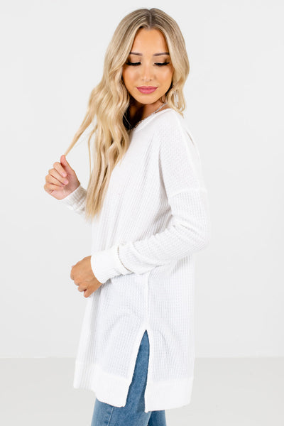 White Long Sleeve Boutique Tops for Women