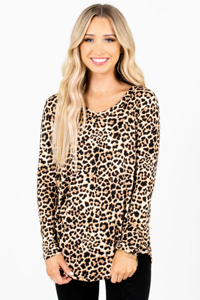 Women's Beige Leopard Print Casual Everyday Boutique Tops