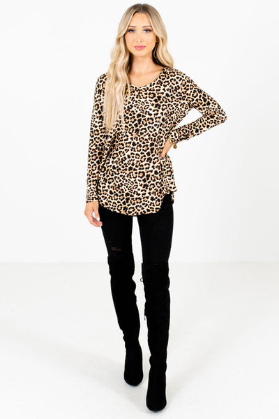 Beige Cute and Comfortable Boutique Leopard Print Tops for Women