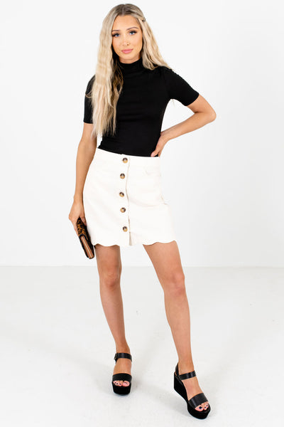 Cream Cute and Comfortable Boutique Mini Skirts for Women