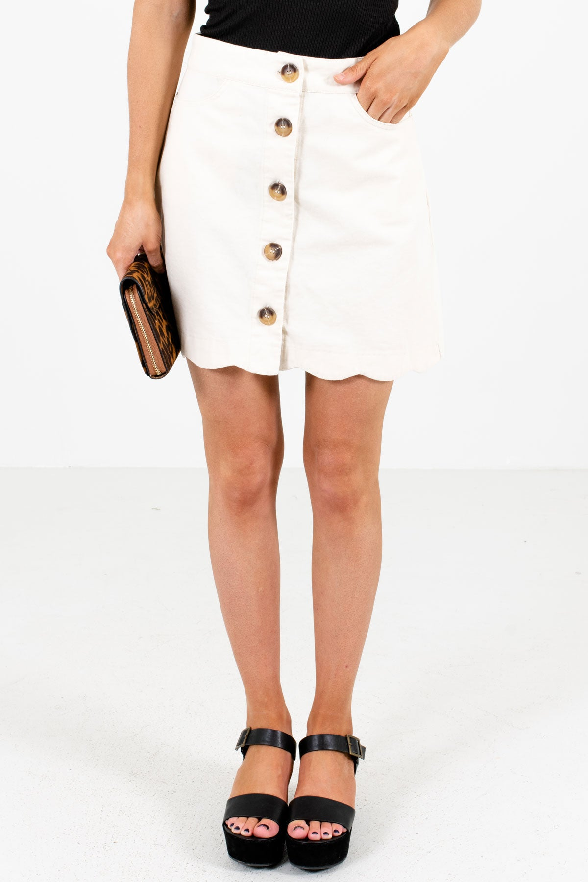 Cream Button-Up Front Boutique Mini Skirts for Women