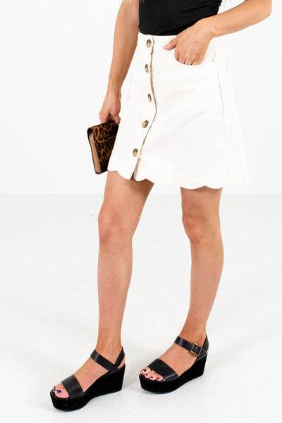 Cream Boutique Mini Skirts for Women with Pockets