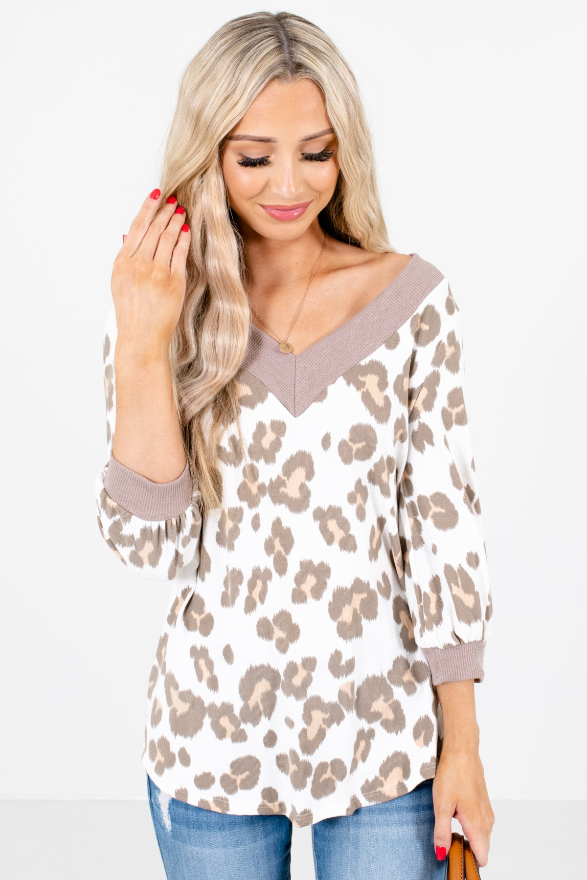 White Multicolored Leopard Print Patterned Boutique Tops for Women