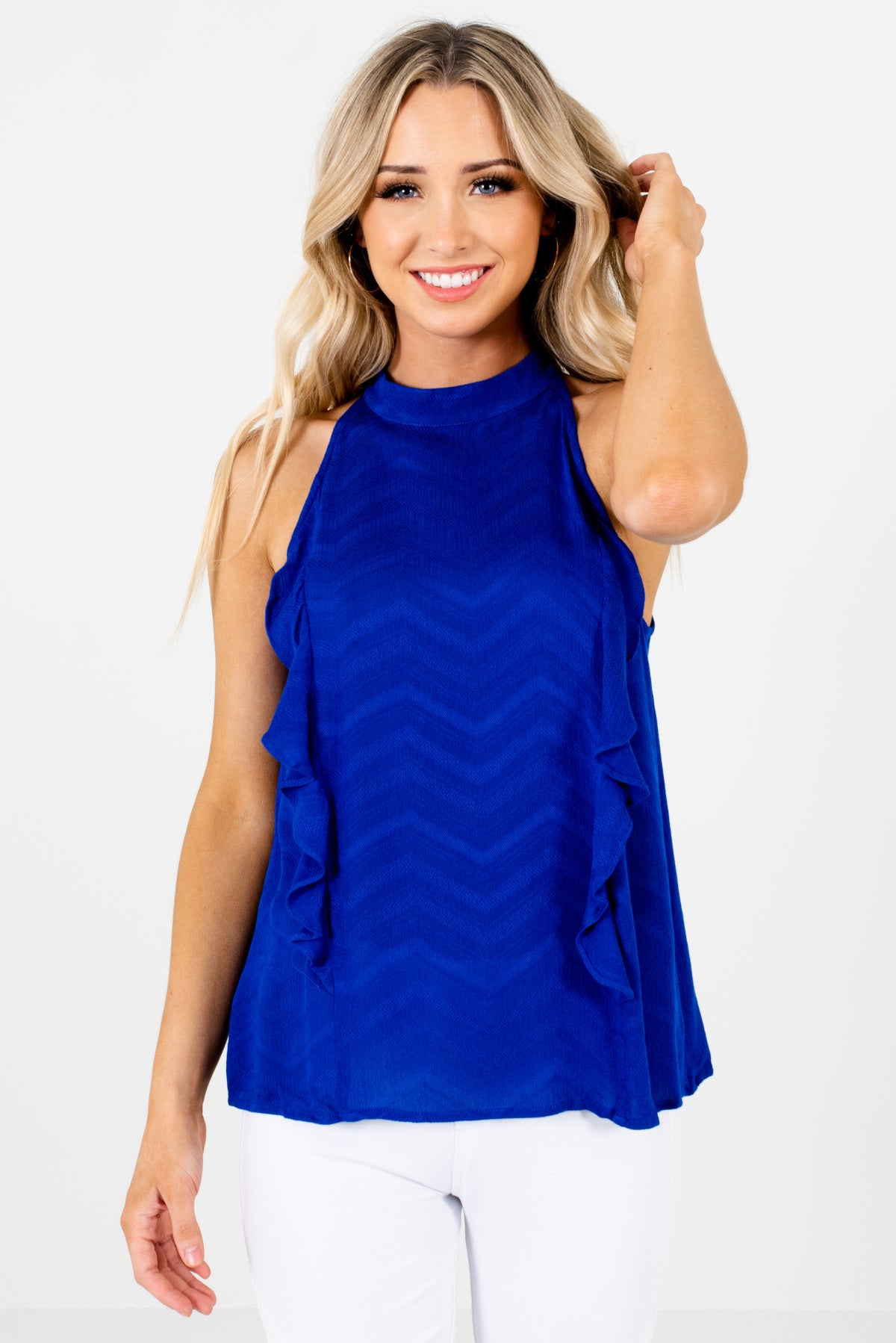 Royal Blue Halter Style Boutique Tops for Women