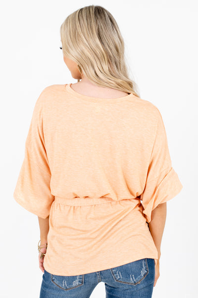 Orange Lightweight Material Boutique Tops for Women
