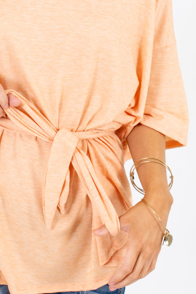 Women's Orange Casual Everyday Boutique Tops