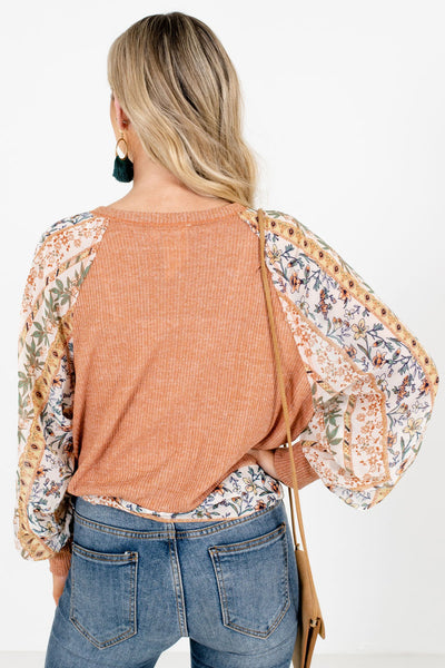 Women's Orange Bishop Patterned Sleeve Boutique Blouse