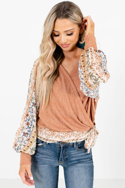 Women's Orange Casual Everyday Boutique Blouses