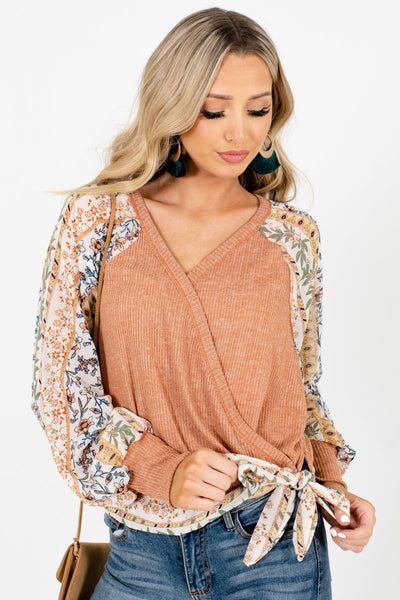 Orange Wrap Style Boutique Blouses for Women