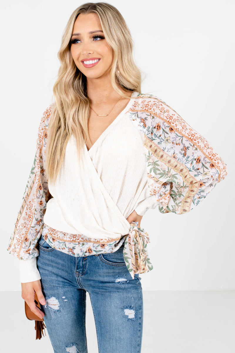 Carefree Girl Cream Patterned Blouse