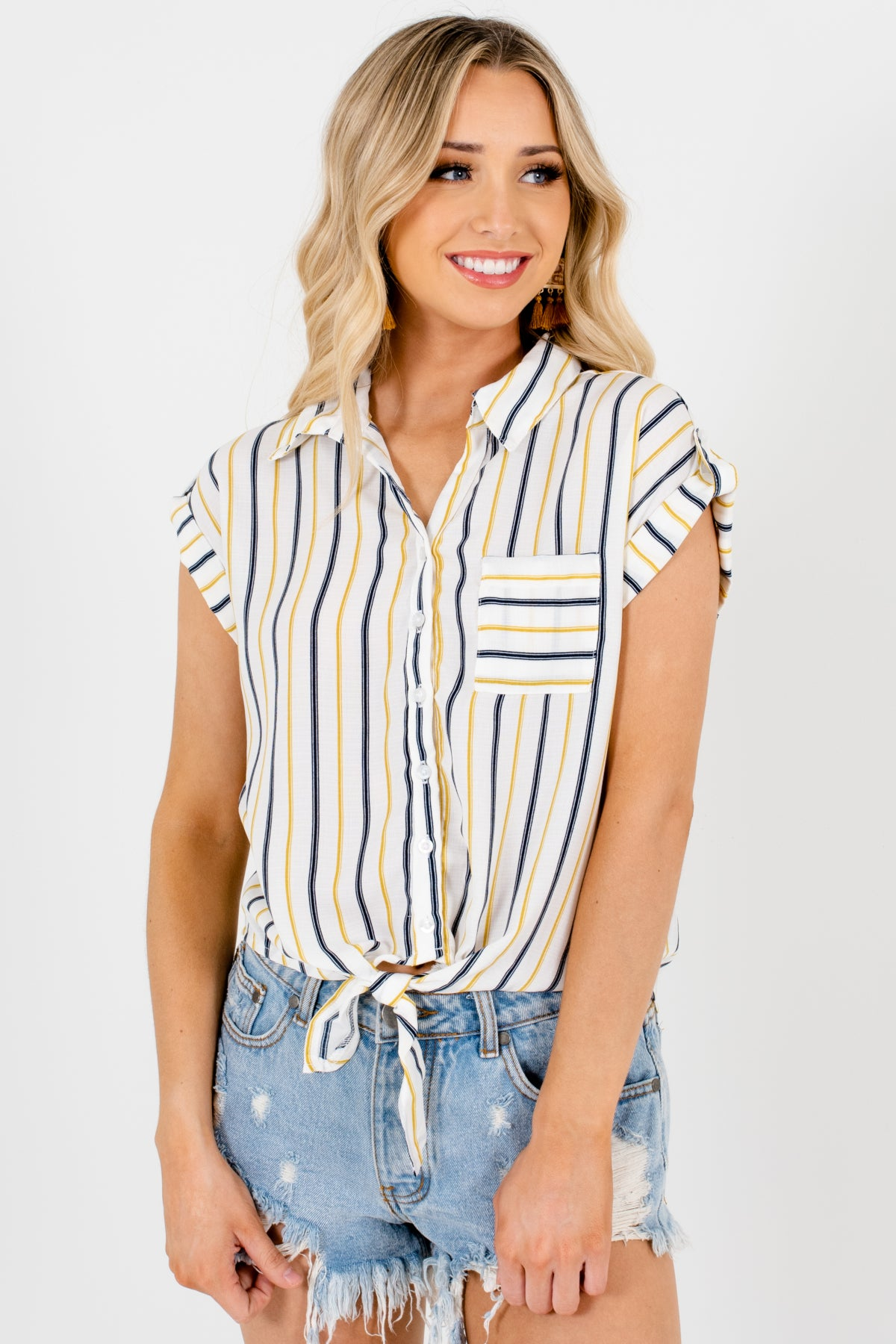 White Navy Yellow Striped Button-Up Shirts Affordable Online Boutique