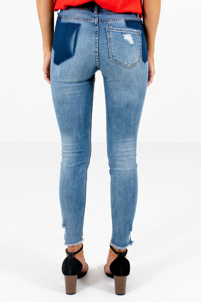 Women's Blue Distressed Patches Boutique Jeans
