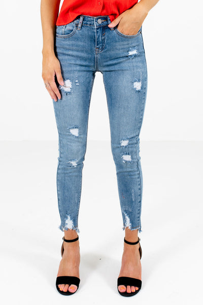 Light Wash Blue Denim Skinny Style Boutique Jeans for Women