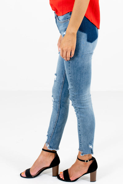 Blue Button and Zipper Front Boutique Jeans for Women