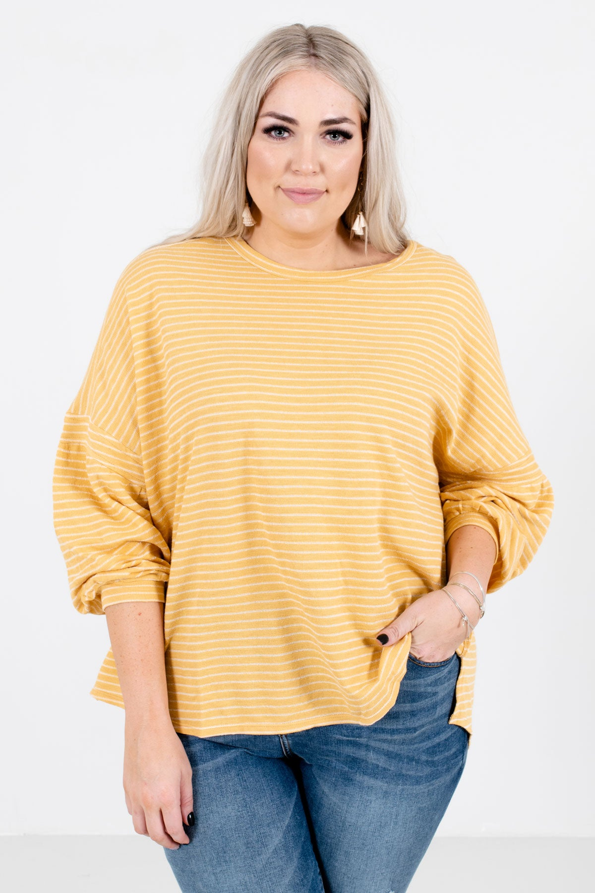 Casual Conversation Yellow Striped Top