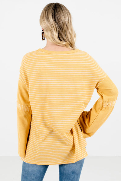 Women's Yellow Wide Bell Sleeve Boutique Tops