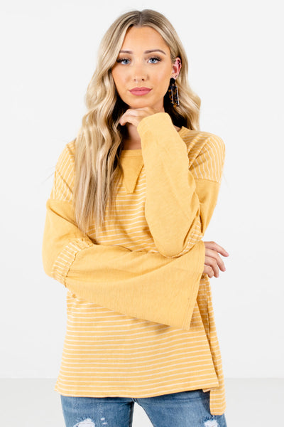 Women's Yellow Round Neckline Boutique Tops