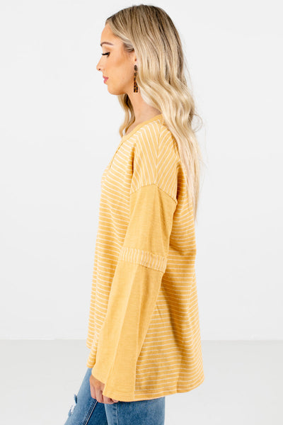 Yellow Split High-Low Hem Boutique Tops for Women