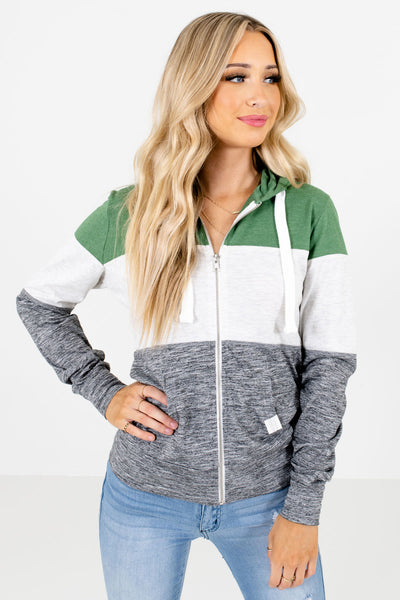 Green Multicolored Color Block Patterned Boutique Jackets for Women