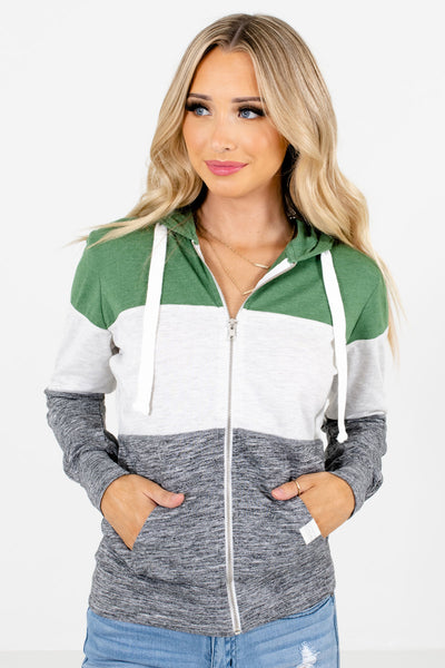 Women's Green Boutique Jackets with Pockets