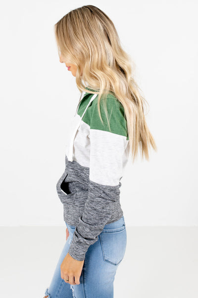Green Drawstring Hood Boutique Jackets for Women