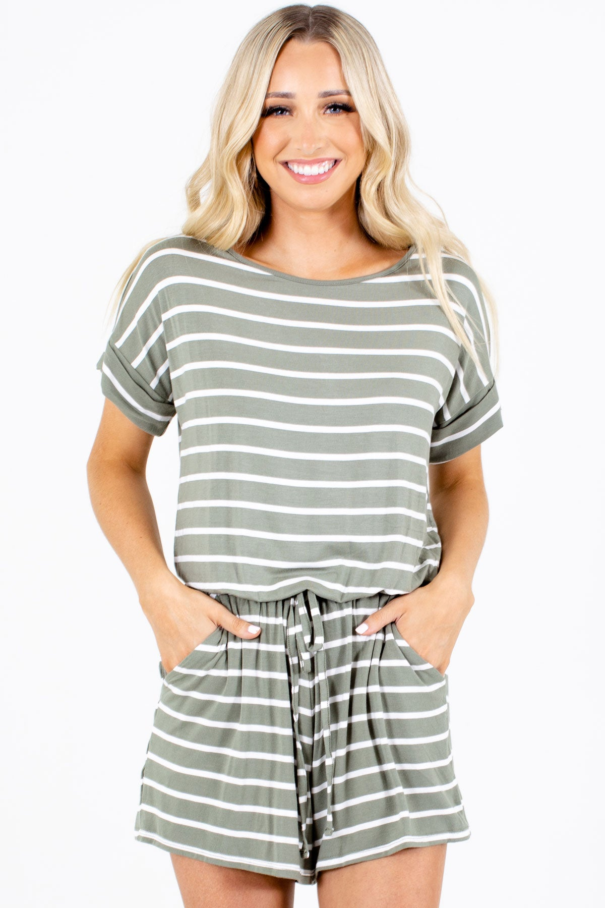 Green Striped Pattern Boutique Rompers for Women