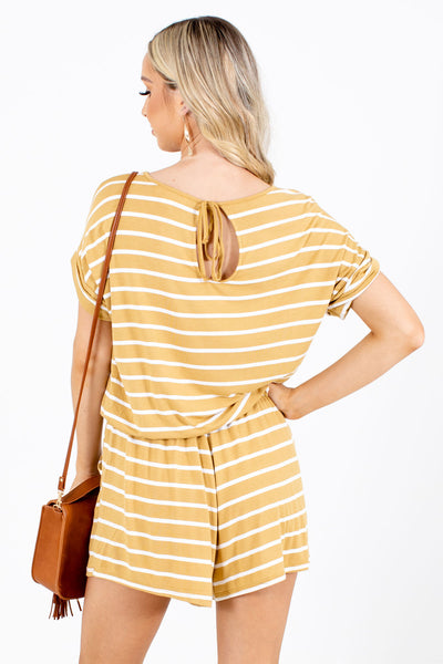 Women's Yellow Keyhole Back Boutique Romper