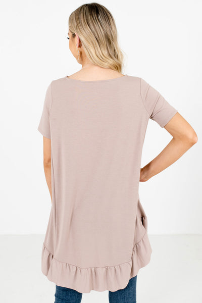 Women's Taupe Brown Long Length Boutique Tops