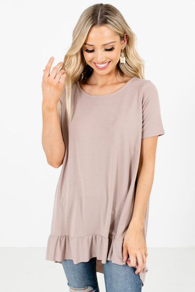 Taupe Brown Short Sleeve Boutique Tops for Women