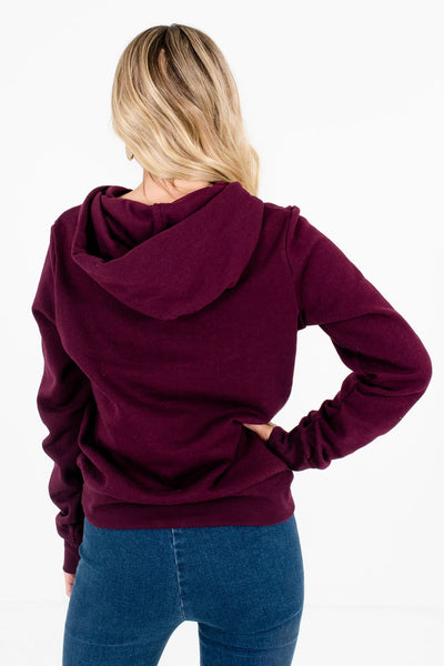 Women's Purple Drawstring Hood Boutique Hoodie