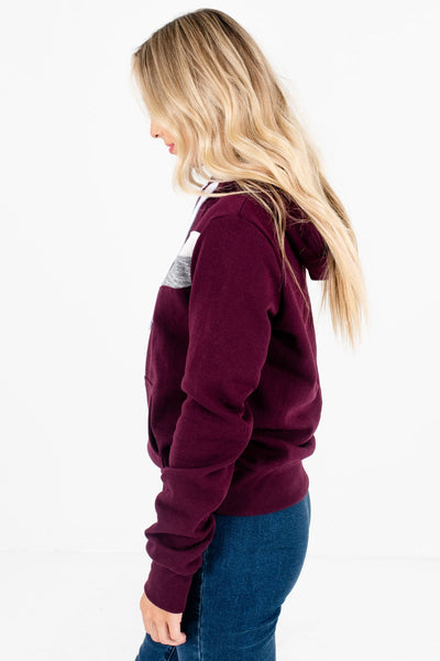 Purple Front Pocket Boutique Hoodies for Women