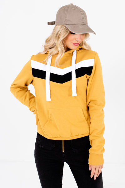 Women's Mustard Yellow Fleece-Lined Boutique Hoodie