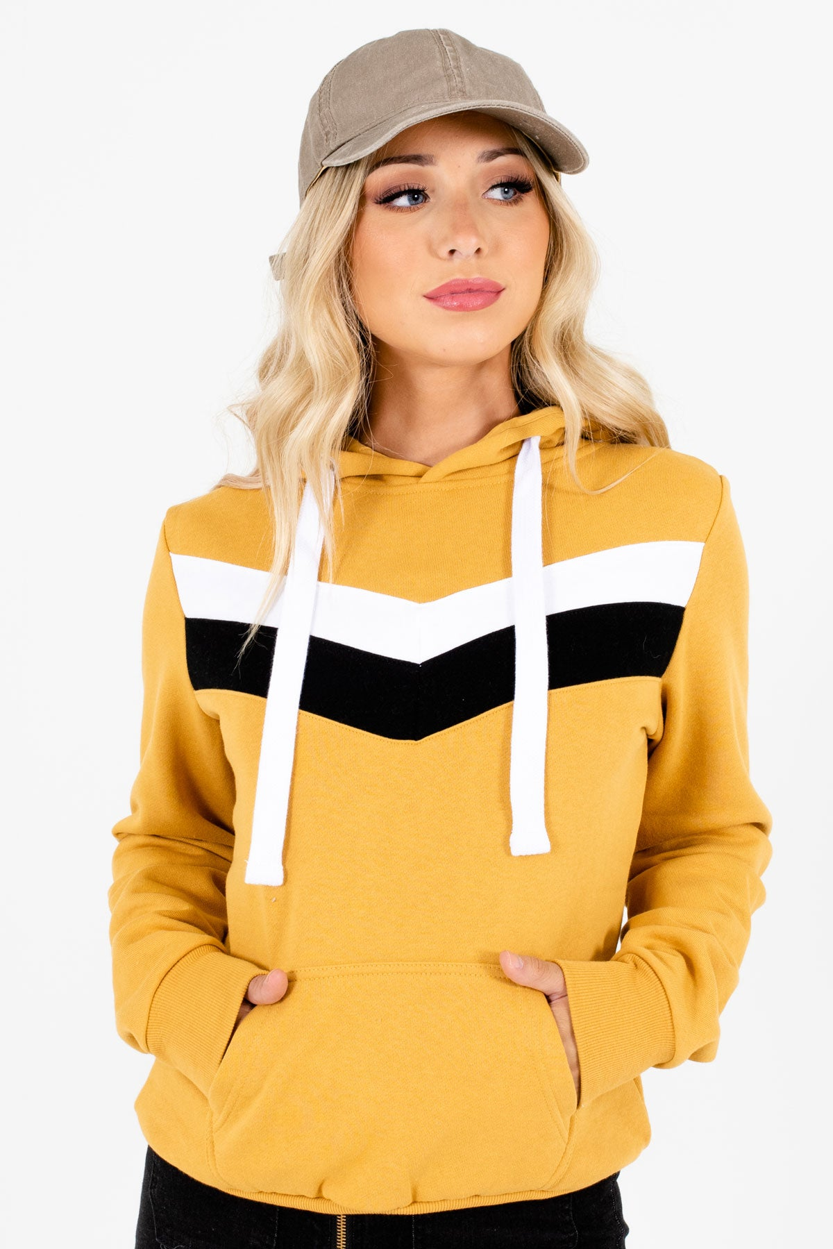 Mustard Yellow Retro Stripe Accented Boutique Hoodies for Women