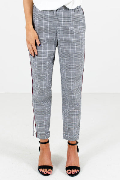 Black and White Plaid Patterned Boutique Pants for Women