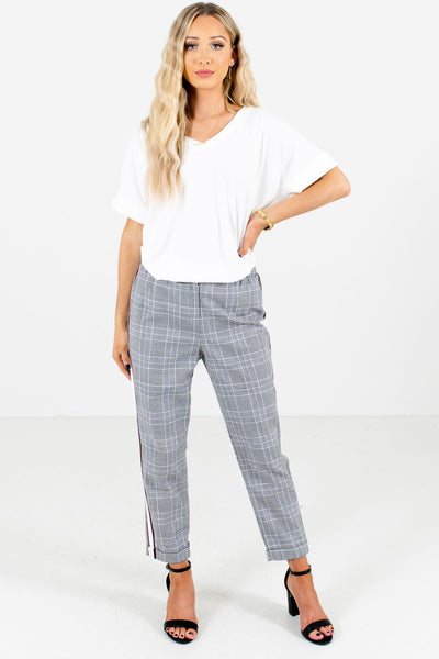 Women's Black Zip and Button Closure Boutique Pants