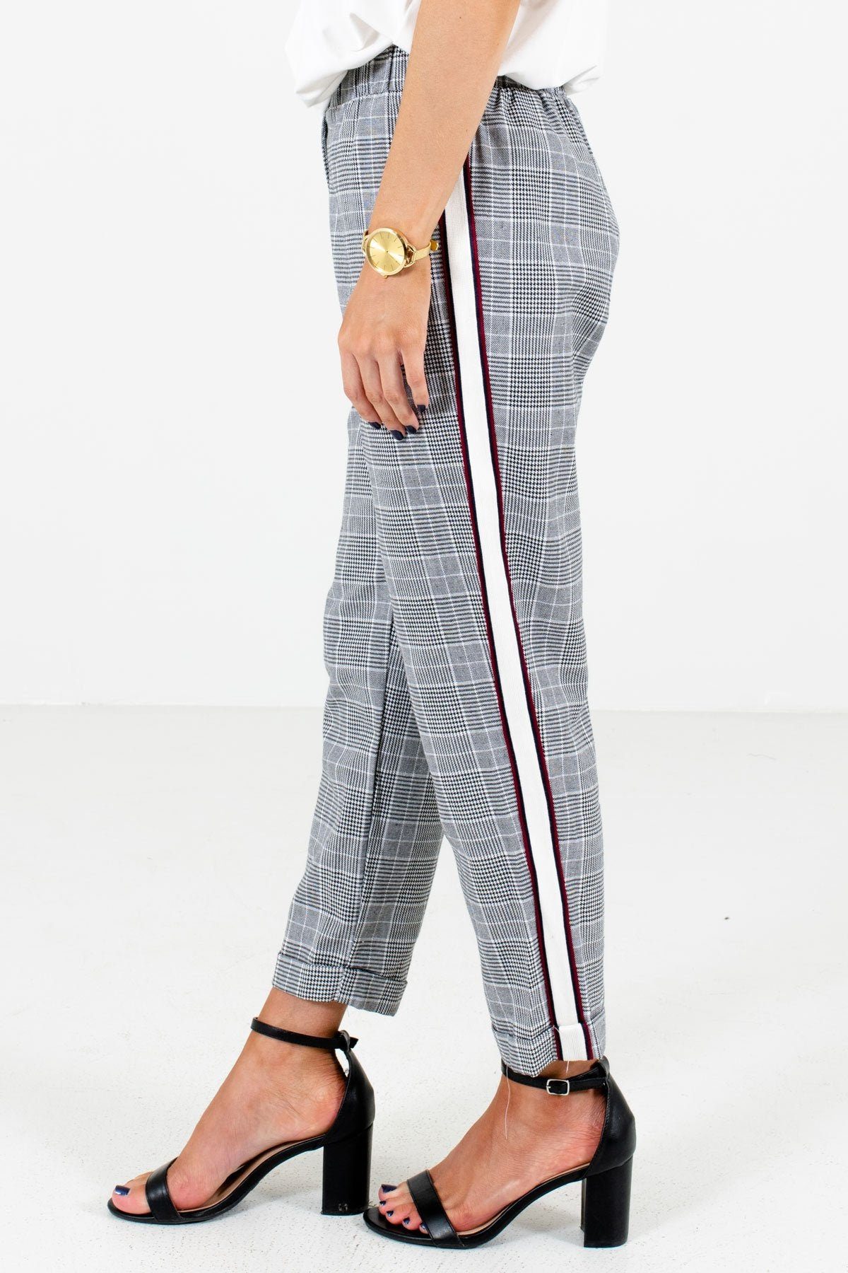 Black Unique Side Stripe Boutique Pants for Women