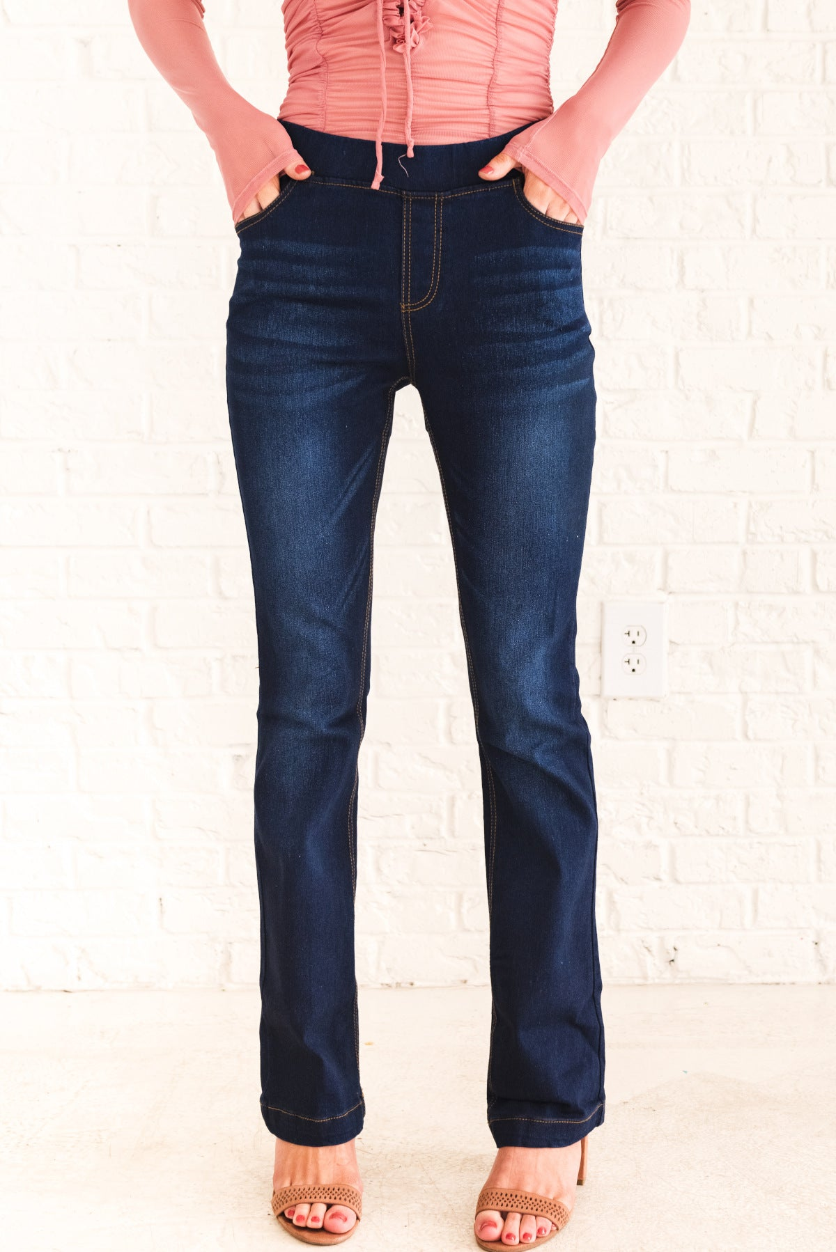 Dark Wash Denim Blue Flare Style Boutique Jeggings for Women