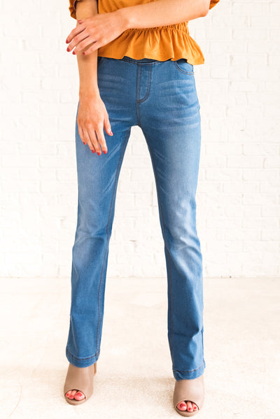 Light Wash Denim Blue Flare Style Boutique Jeggings for Women