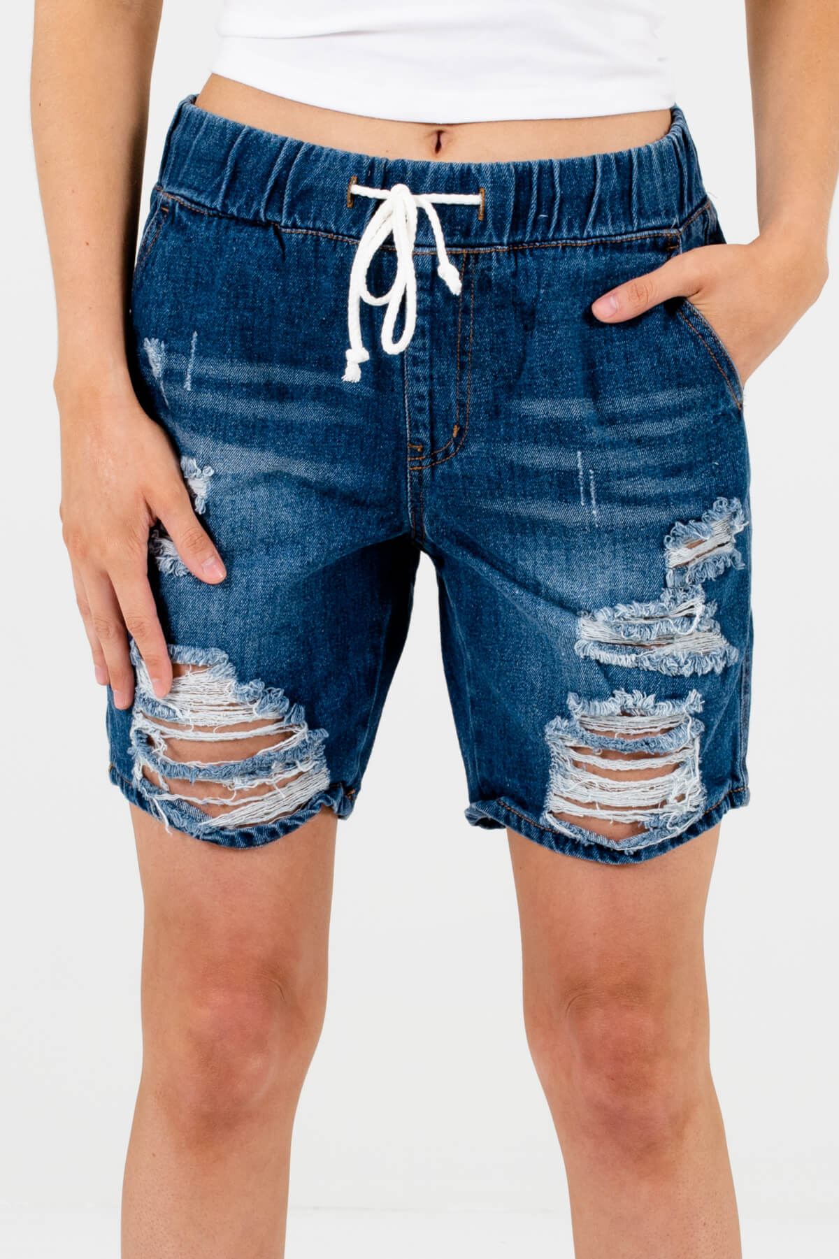 Dark Wash Denim Blue Distressed Detailed Boutique Shorts for Women