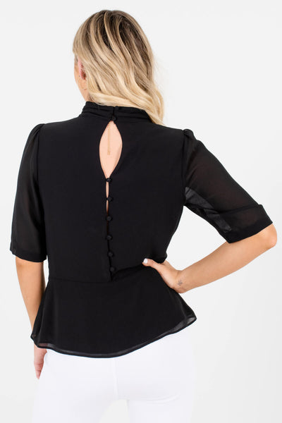 Women's Black Button-Up Back Boutique Blouse