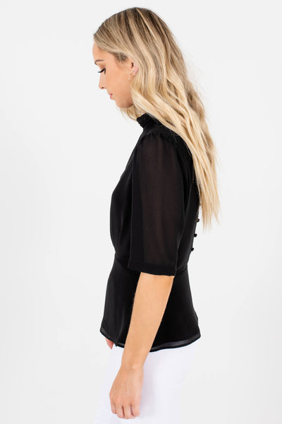 Women's Black Pleated Accented Boutique Blouses
