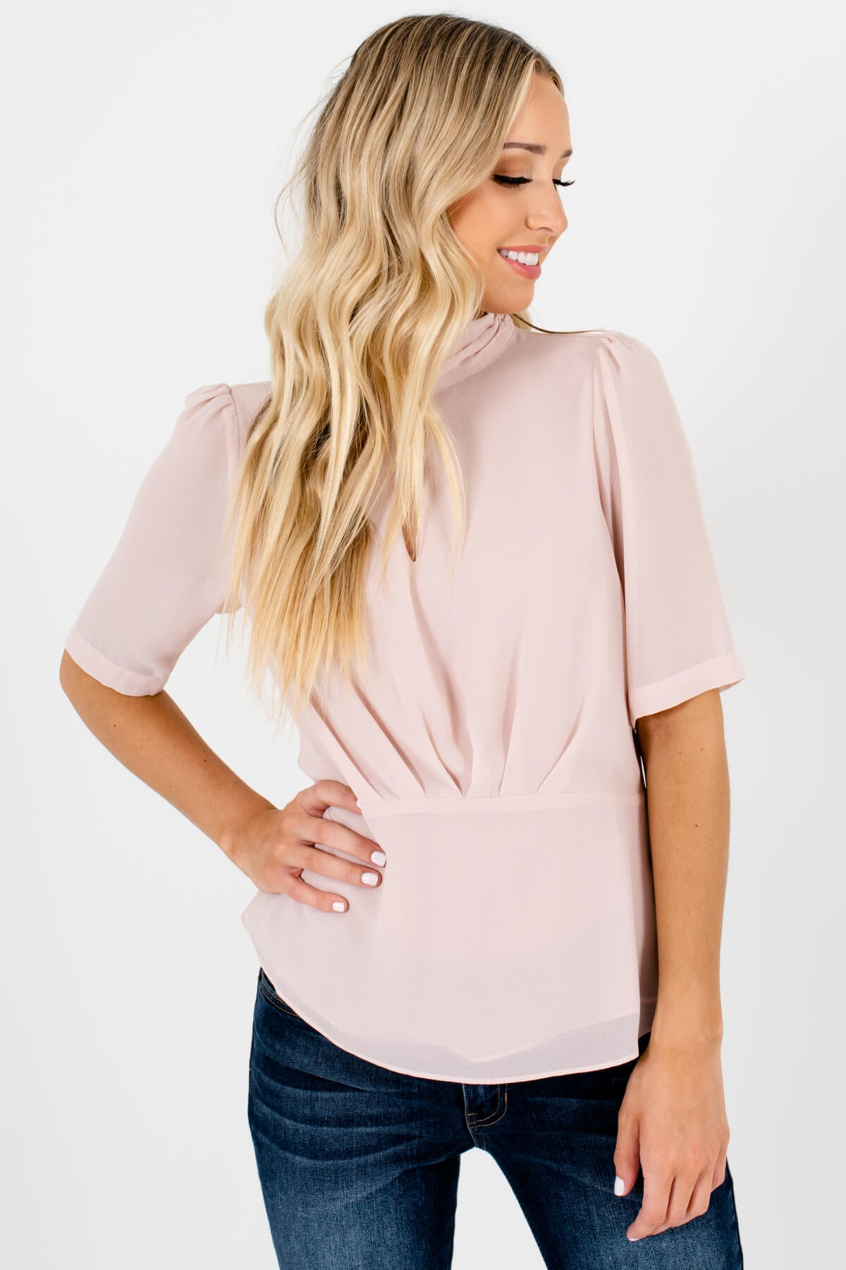 Blush Pink Neckline Cutout Detail Boutique Blouses for Women