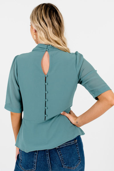 Women's Green Button-Up Back Boutique Blouse