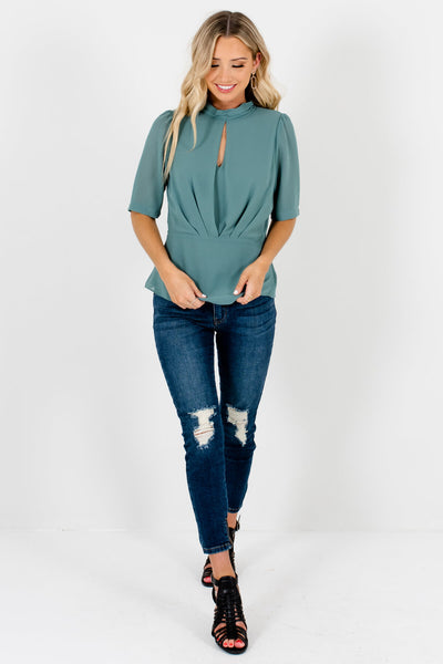 Green Cute and Comfortable Boutique Blouses for Women