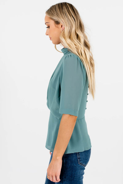 Green Keyhole Back Detail Boutique Blouses for Women